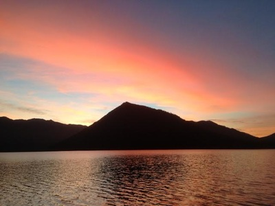 Sunset at Lake Crescent Cabin - lodging available year round